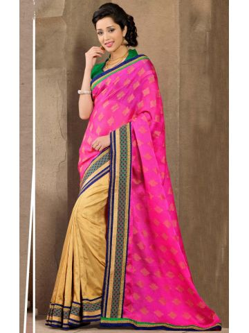 https://static4.cilory.com/108774-thickbox_default/charming-hotpink-gold-saree-with-green-blouse.jpg