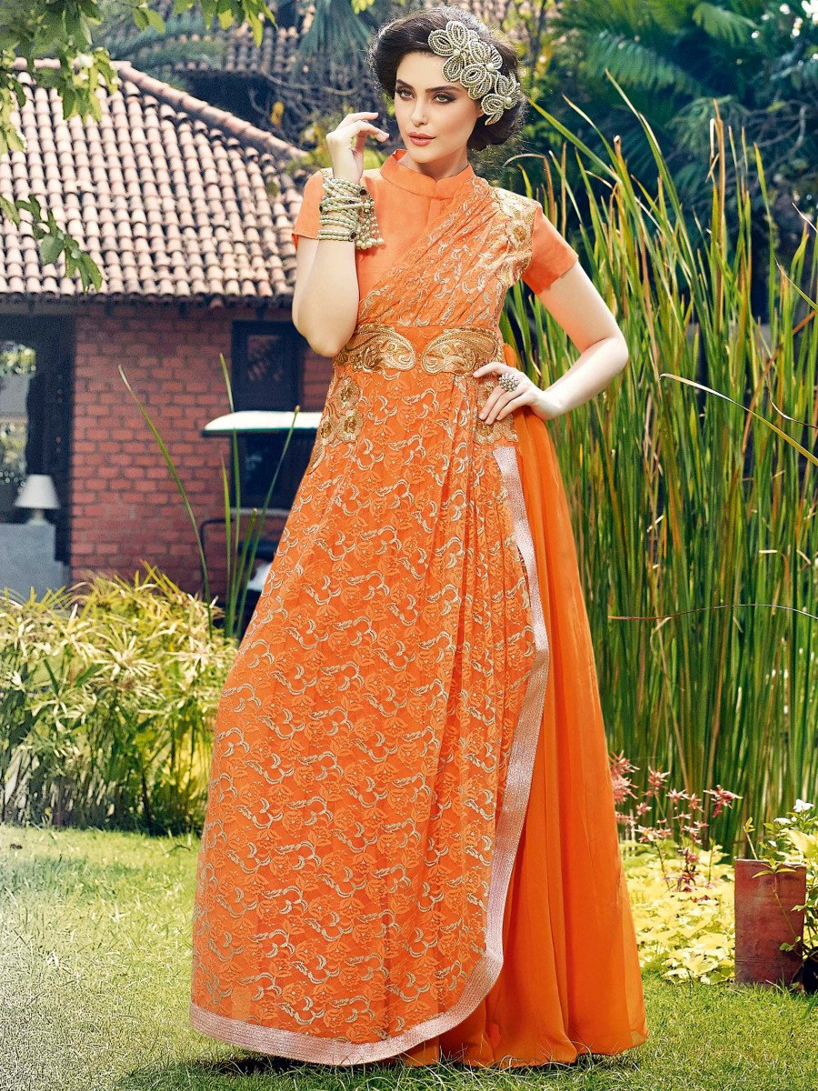 Stylus Orange Party Wear Semi Stitched Long Gown | Stylus Gown-10023 ...