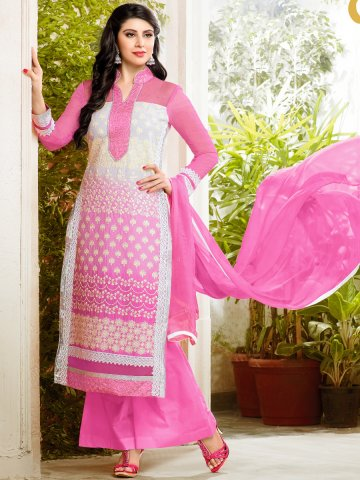 2 in 1 Style Pink  amp; White Cotton Semi Stitched Suit