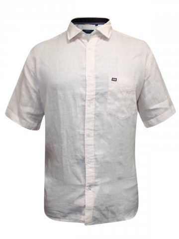Arrow Cream Formal Cotton Linen Shirt at cilory