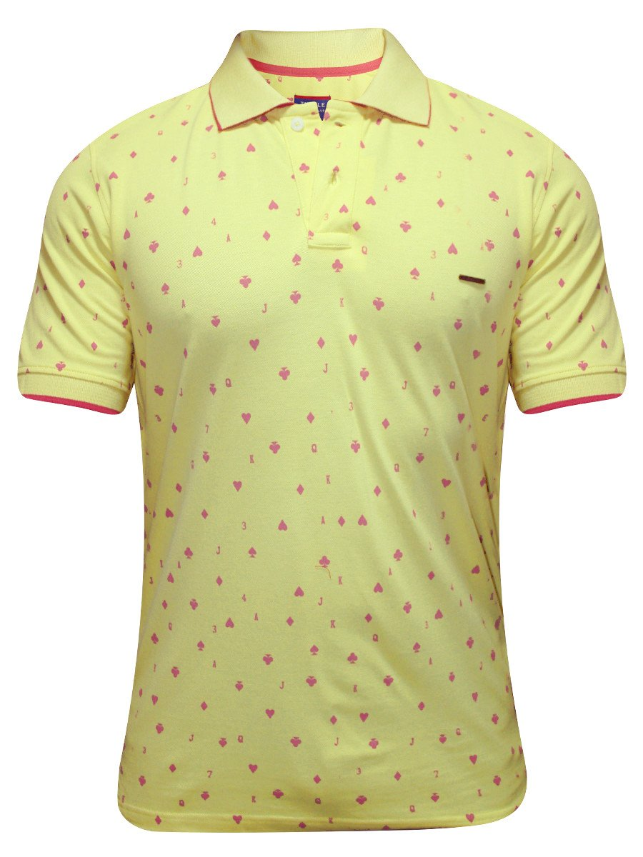 Turtle Yellow Printed Polo T Shirt 35598 1001 Hs