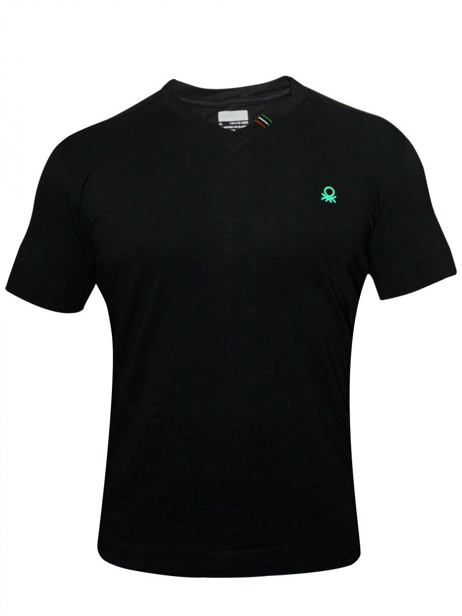 Undercolors of benetton v neck t shirt 555di black for Thick v neck t shirts