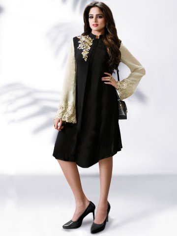 Nitya Black & Off White Designer Kurti at cilory