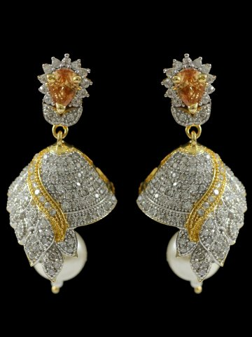 ethnic dropping beautiful diamond and floral earrings