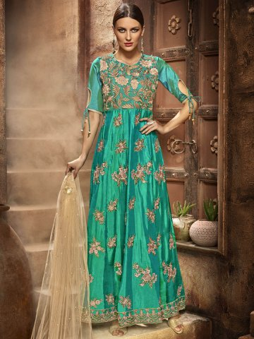 Silken Green Gown Style Semi Stitched Suit   Eternal-183   Cilory.com