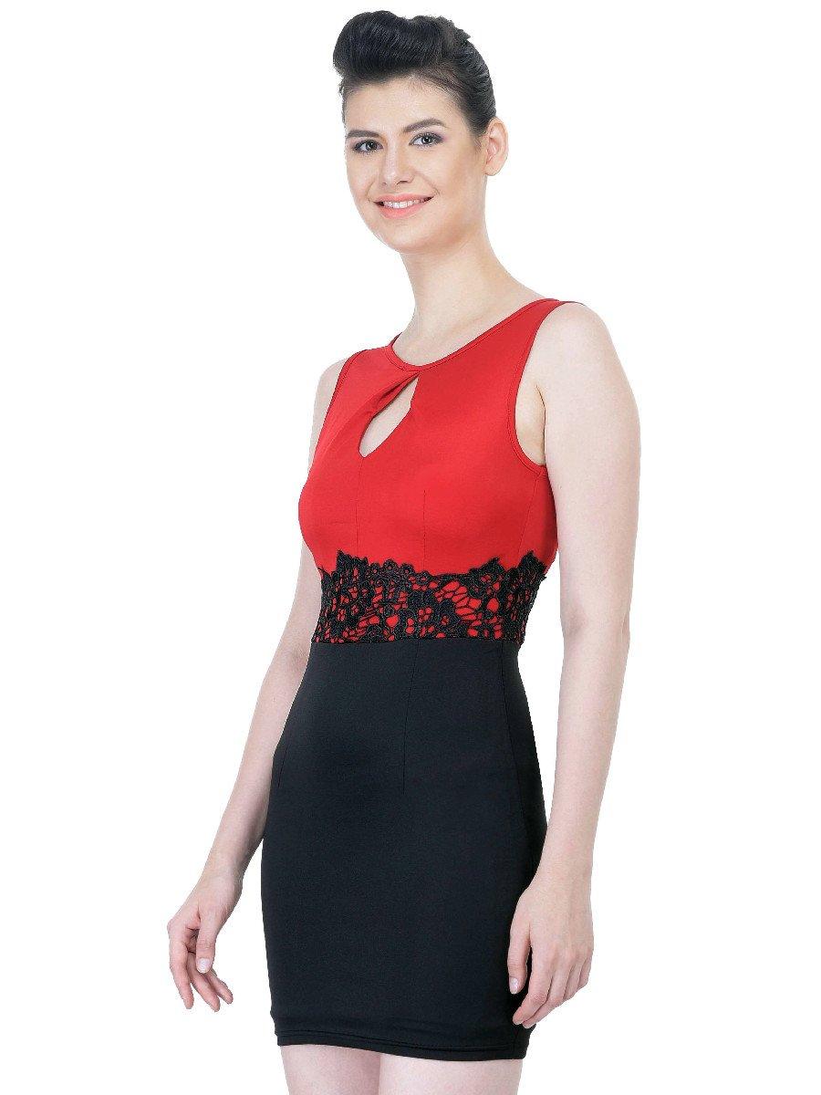 Beautiful Red & Black Midi Dress | Nk9080-maroon | Cilory.com