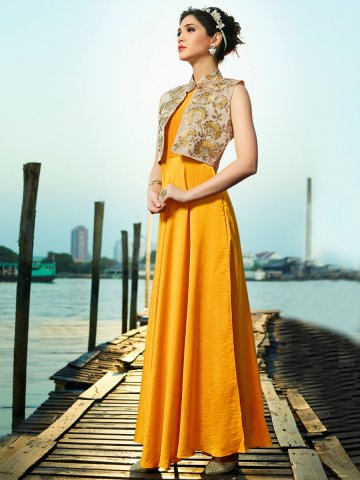 Aashi Series Yellow Two Tone Gown Style Kurti With Jacket | K-417 ...