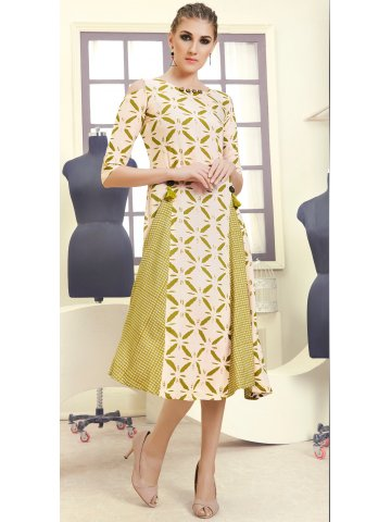 663996e6264 Allure Beige   Green Rayon Cotton Cold Shoulder Kurti