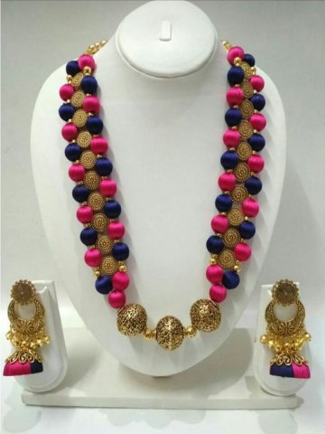 silk large different at necklace multi colour colours az thread necklaces