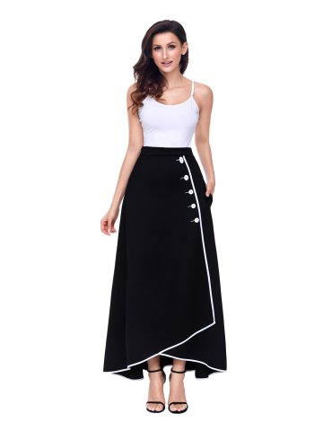 Black Piped Button Embellished High Waist Maxi Skirt at cilory