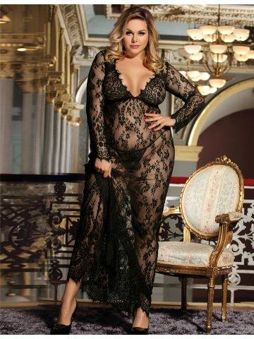 ce89d792776  Plus Size Black Delicate Lace Long Sleepwear Gown.  https   static8.cilory.com 340411-thickbox default plus-