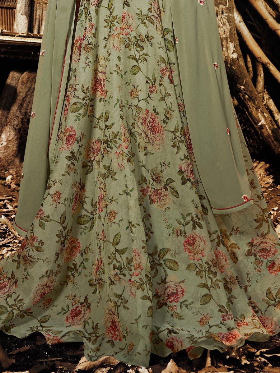 Mugdha Olive Semi Stitched Heavy Work Suit Mugdhajn 1131 Petal Skirt View Full Size