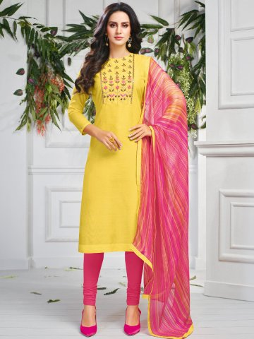 https://static.cilory.com/407652-thickbox_default/yellow-chanderi-cotton-semi-stitched-suit.jpg